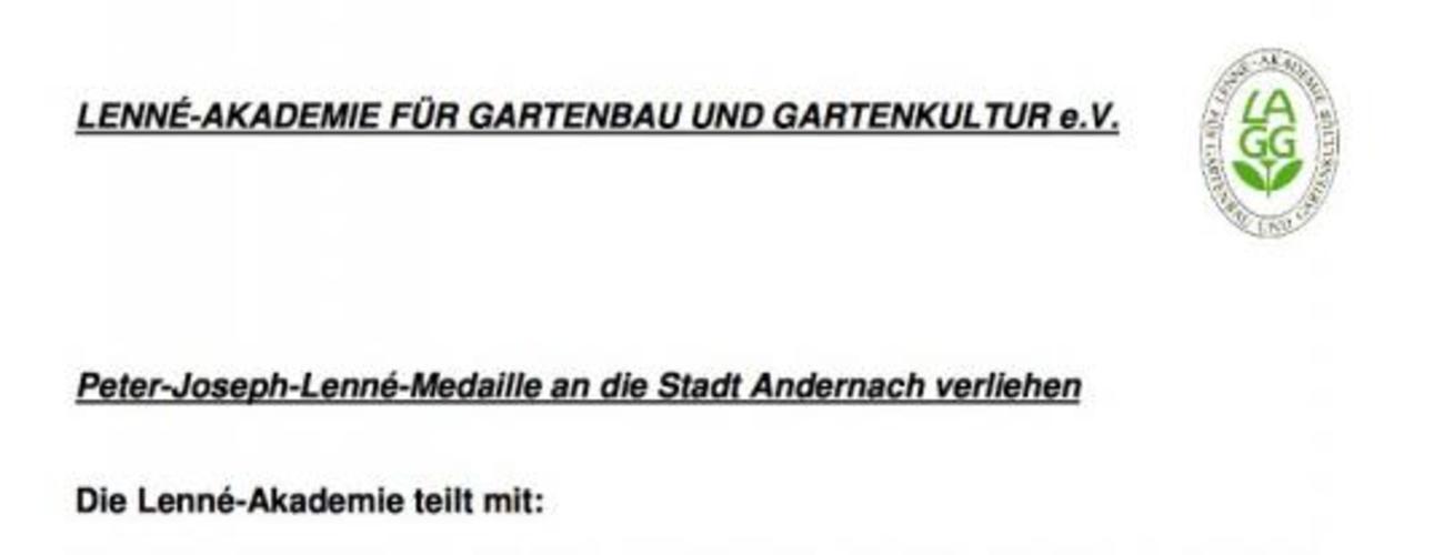 Auszeichnung der Stadt Andernach mit der Lenné-Medaille